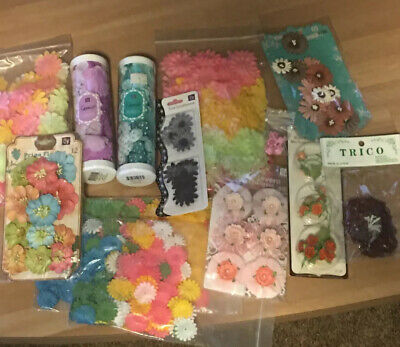 $11.52 • Buy Embellishments For Scrapbooking And Other Paper Crafts— Huge Lot-Flowers Galore