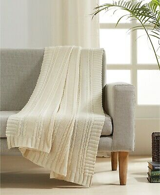 £35.13 • Buy VCNY  Home Cable Knit Cotton 50  X 60  Cream Throw T410299