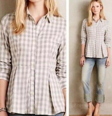 $ CDN18.40 • Buy Anthropologie TYLHO Beige Gingham Checked Peplum Long Sleeve Button Down Size S