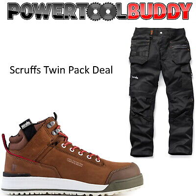 Scruffs Twin Pack Switchback Brown Safety Boots + Trade Flex Work Trousers • 89.95£