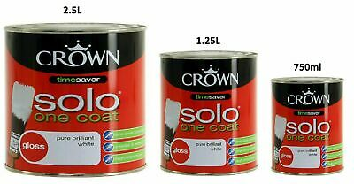 Crown Solo Gloss Paint Pure Brilliant White 750ml - 1.25l - 2.5l   • 15.95£