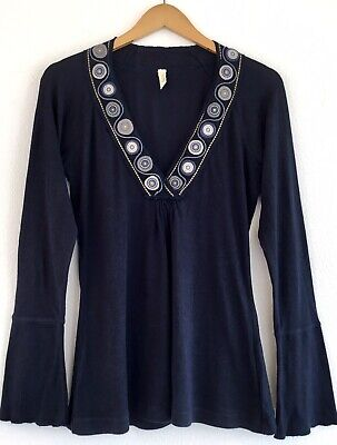 $ CDN23.65 • Buy TINY Anthropologie Navy Cotton Knit Embroidered V Neck Long Sleeve Top Size XL