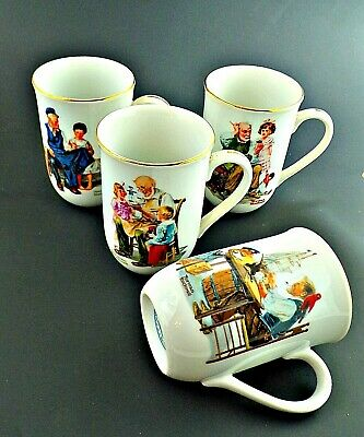 $ CDN23.24 • Buy Norman Rockwell Museum Collection 1982 Coffee Mugs Cups Gold Trim Set Of 4