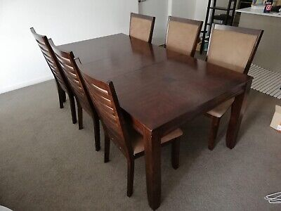 AU195 • Buy Dining Table W/ Extender Leaf & X6 Chairs