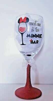 Personalised Disney Glitter Wine Glass Birthday MINNIE MOUSE  Gift Wrapped Gift • 9.99£