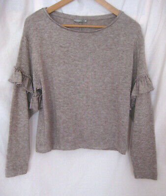 $12.99 • Buy ZARA COLLECTION Light Brown Ruffle Sleeve Knit Sweater Top Size S