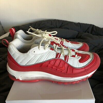 $85 • Buy Nike Air Max 98 University Red White Running Shoes 640744 602 Size 10.5 USED