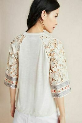 $ CDN46.38 • Buy Anthropologie Cassidy-Lace Trim Tee Blouse By Tiny $98 Sz Large