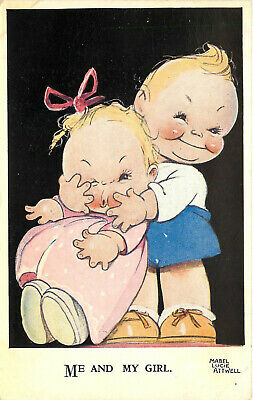 Signed Artist Postcard Mabel Lucie Atwell Me And My Girl Children Hugging  • 6.96£