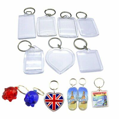 High Quality Clear Plastic BLANK KEY RINGS Photo Insert (ALL Sizes And Shapes)uk • 1.39£