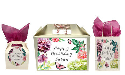Personalised Happy Birthday Floral Gift Box Present Box Bag Collection Various • 5.49£