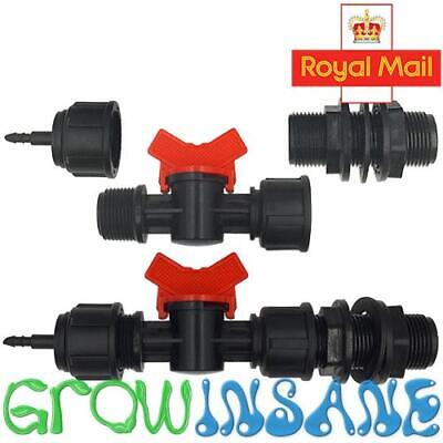 Gravity Fed Irrigation 3/4 Inch Tank Adaptor, TAP Valve 4mm Micro Pipe Connector • 9.99£