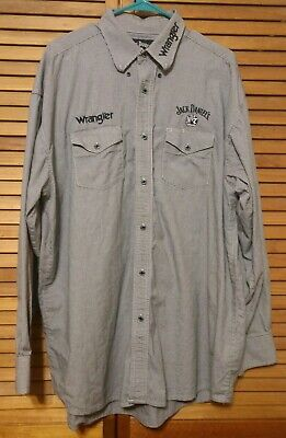 $27.99 • Buy Jack Daniels Wrangler Embroidered Button Long Sleeve Button Up Shirt XLT