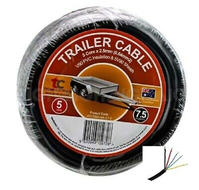 AU29.95 • Buy Automotive 5 Core Trailer Cable 7.5m 8Amp 2.5mm Trailer Wiring Applications
