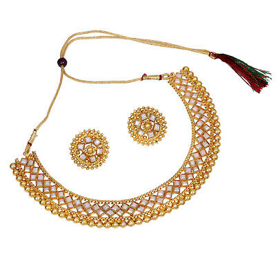 $19.99 • Buy Indian Bollywood Gold Plated Crystal Necklace Traditional Bridal Jewelry Set