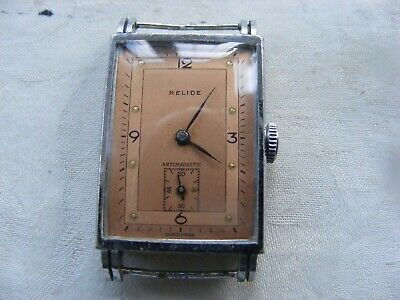 VERY RARE Art Deco RELIDE GENTS WATCH C1920s-30s STUNNING DIAL 15 JEWELS WORKING • 125£