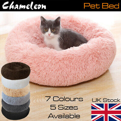 Plush Round Dog Pet Cat Calming Bed Puppy Washable Fluffy Cushion • 18.55£