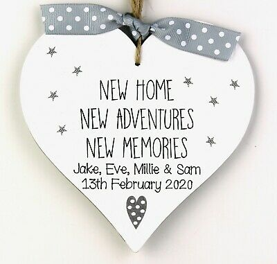 £7.50 • Buy Personalised New Home Gift Heart Housewarming Plaque Sign Moving Memories House