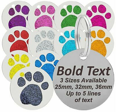 Personalised Engraved Dog Cat Pet Tag, 25mm, 32mm & 36mm Glitter Paw Dog ID Tags • 2.29£