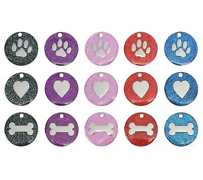 Dog Cat Pet Tag Engraved Reflective Collar ID Tags 25mm Glitter Various Designs  • 2.49£