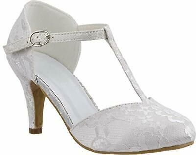 Ladies Ivory Lace Embellished Mid Heel T-bar Ankle Strap Wedding Shoes Size 3-8 • 19.99£