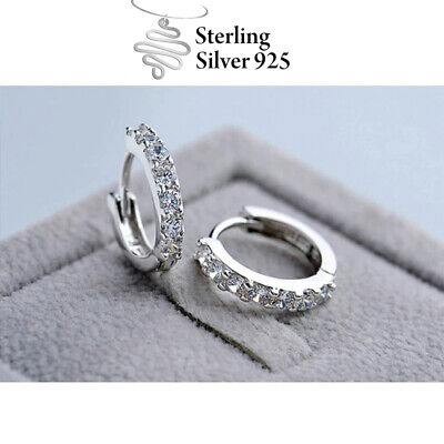 AU8.99 • Buy 925 Sterling Silver 18K White Gold Cubic Crystal Cuff Huggie Stud Hoop Earrings