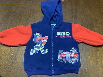 $15 • Buy Elmo Sesame Street-To The Rescue Fire Truck/ Fire Fighter Zip Up Hoodie Size 3T