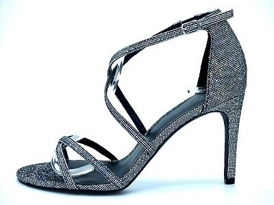 £28.99 • Buy New Look Size 7 40 8 41 Silver Pewter Glitter Sparkly  High Heel Shoes Sandals
