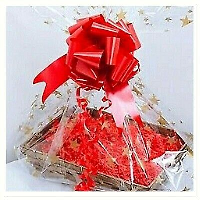 💜L-xx Cellophane Hamper Wrap Bag & Bow Christmas Gifts Mums Baby Bouquet • 3.55£