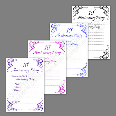 Pack Of 10th Tin Wedding Anniversary Party Invitations Calligraphy Invites • 8.50£