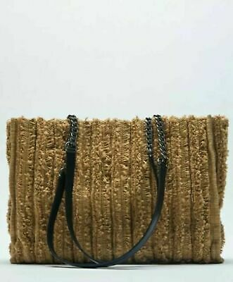 £19.99 • Buy ZARA FRINGED SPLIT SUEDE CROSSBODY BAG Taupe New With Tags