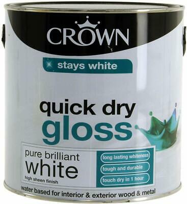 Crown Quick Dry Gloss Brilliant White Interior  Exterior Wood & Metal Paint 2.5L • 23.99£