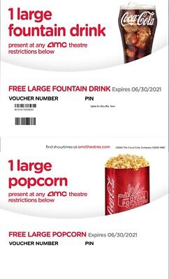 $3.59 • Buy AMC Large Popcorn & Large Fountain Drink Exp 12/20 Instant Delivery Email 24hrs