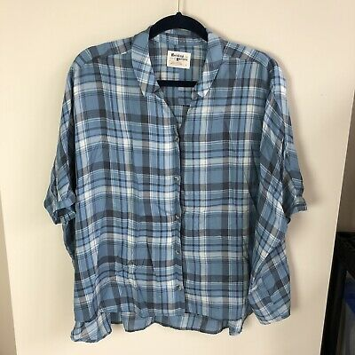 $ CDN39.15 • Buy Anthropologie Holding Horses Size XL Short Sleeve Blue Plaid Button Down Top