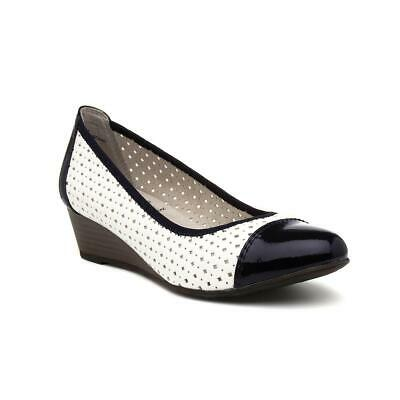 Jane Soft Line Black And White Wedge Slip On Shoe With Cut Out Detailing • 14.99£