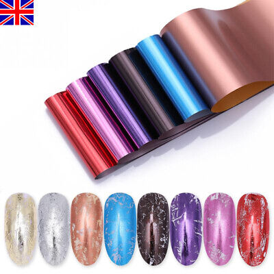8 Sheets Rose Gold Silver Nail Foils Mirror Effect Transfer Stickers Nail Decals • 2.99£