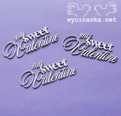 Chipboard Die Cut-out Love 3x  My Sweet Valentine  Wooden Craft Shapes Sentiment • 1.99£