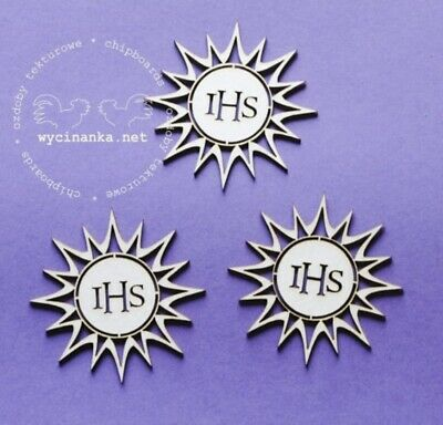 Chipboard Die Cut-out 3x IHS Holy Host Communion Wooden Craft Shape Sentiment • 2£