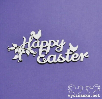 Chipboard Die Cut-out Happy Easter Rooster Hen Wooden Craft Shape Sentiment Card • 1.80£