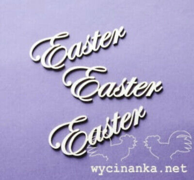 Chipboard Die Cut-out 3x Happy Easter Time Wooden Craft Shape Sentiment Card • 1.80£