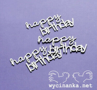 Chipboard Die Cut-out 3x Happy Birthday Wooden Craft Shape Sentiment Card • 1.90£