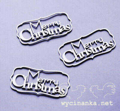 Chipboard Die Cut-out 3x Merry Christmas Wooden Craft Shape Sentiment Card • 1.90£