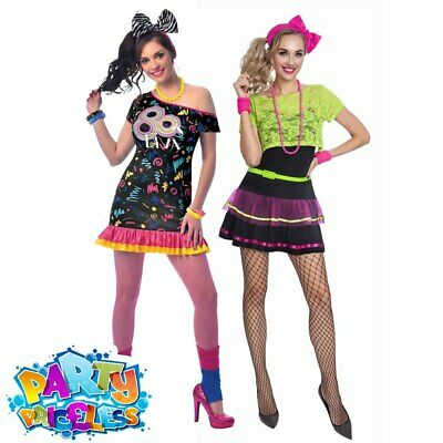 Adult Ladies 1980s Madonna Costume Neon Pop Diva Girl Womens Fancy Dress Outfit • 14.99£