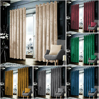 Blackout Crushed Velvet Curtains Eyelet Ring Top Ready Made Lined Pair Curtains • 32.99£