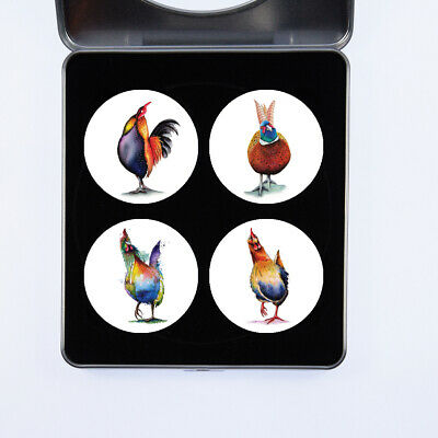 £13.99 • Buy Cockerels Watercolour Design By Artist Maria Moss Sets Of 4 And 6 Pattern Weight