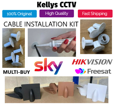CCTV SKY VIRGIN FREESAT Brick Blow Out Cable Cover Hole Wall Plastic Grommet Kit • 4.99£