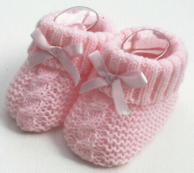 Newborn Baby Booties Knitted Cable Bow Spanish Romany Pink Girls By Soft Touch • 3.25£