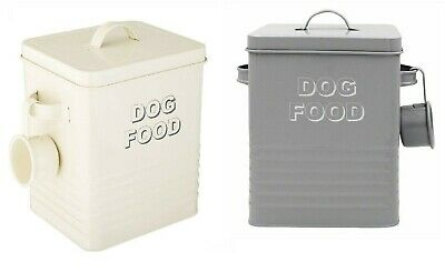£11.98 • Buy Cat Food Dog Food Animal Food Storage Tin Box With Lid Container Canister Grey