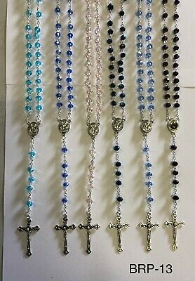 AU7.95 • Buy Assorted Crystal Beads Religious Necklace Rosary With Jesus On Cross