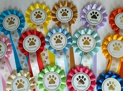 £7.49 • Buy Dog Show Rosettes Winner X 10  FREE Printed Paw Print Tails FREE POSTAGE